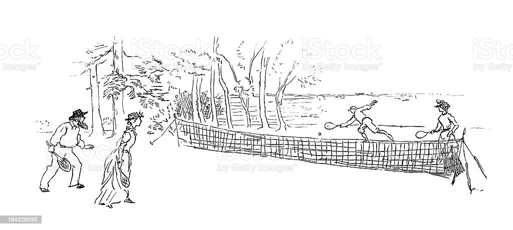 Game of Tennis vector art illustration