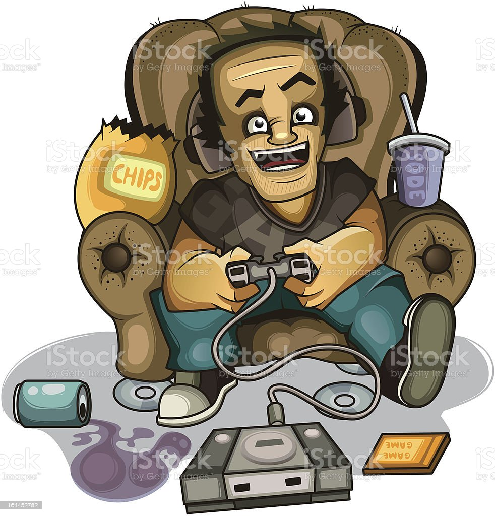 Gamer in the chair royalty-free stock vector art