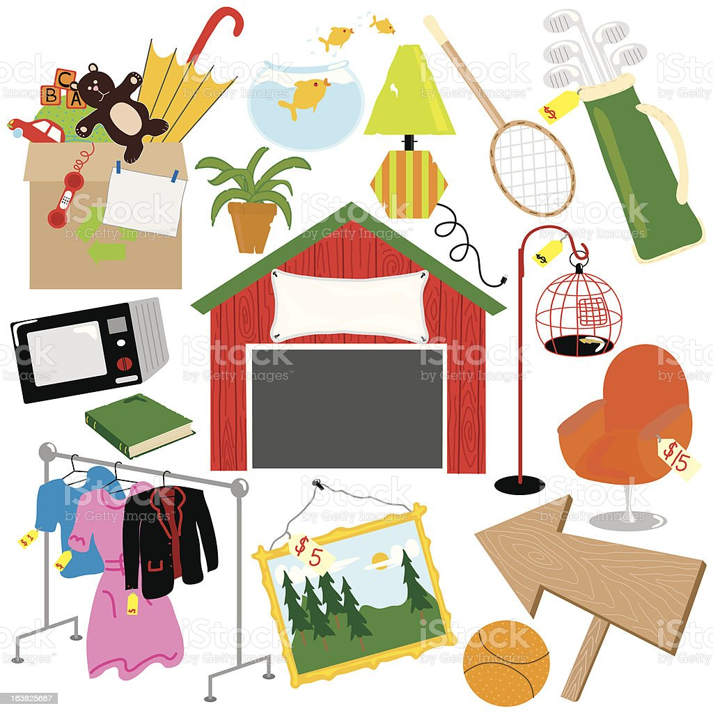 Garage Sale elements vector art illustration