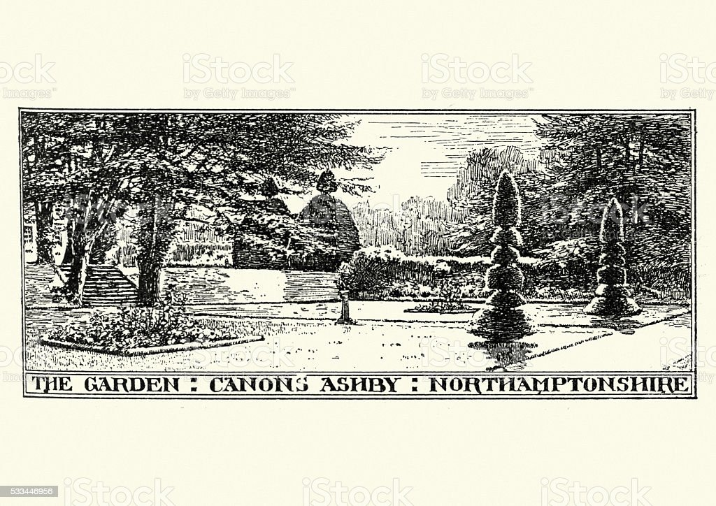 Garden at Canons Ashby, Northamptonshire vector art illustration