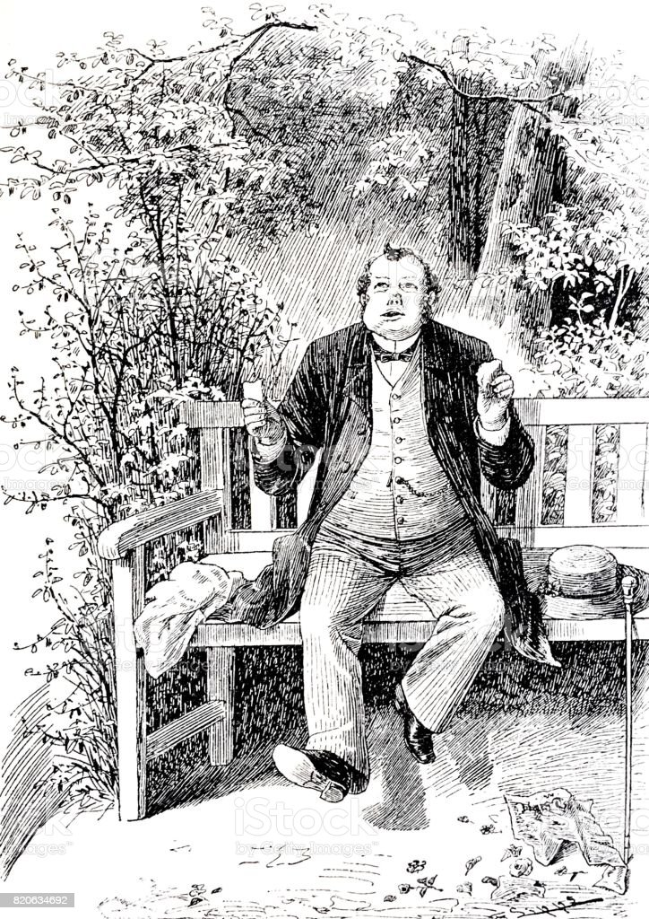 Garden bench in park: happy man eating his lunch vector art illustration