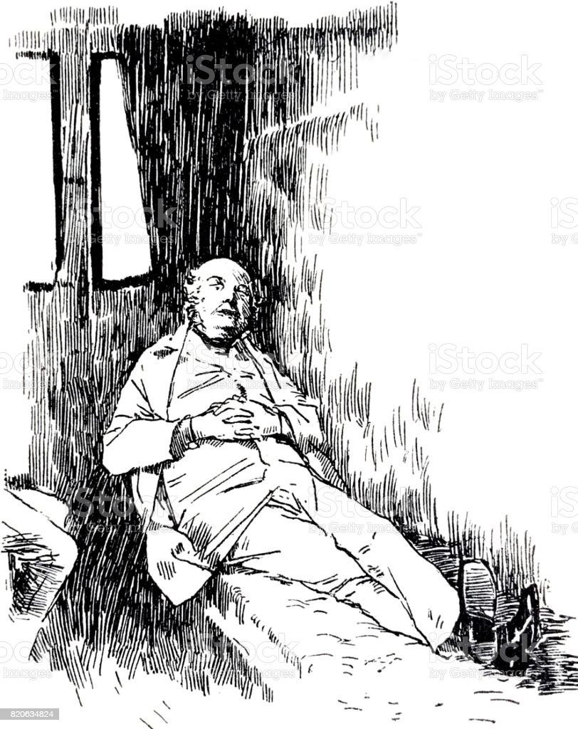 Garden bench in park: happy senior man relaxing after lunch vector art illustration