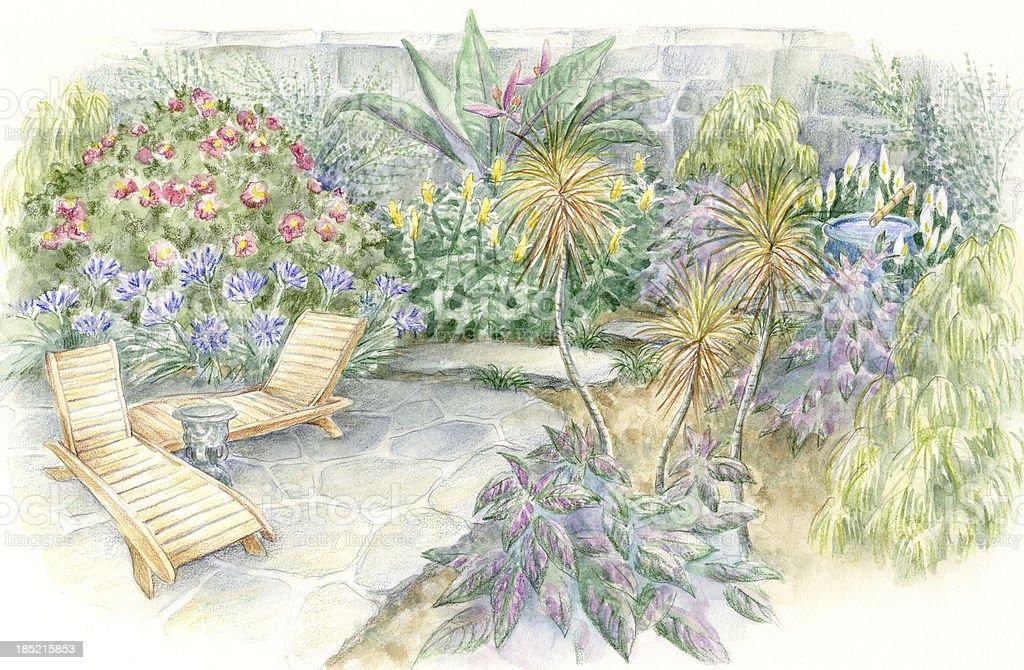 Garden Chairs vector art illustration