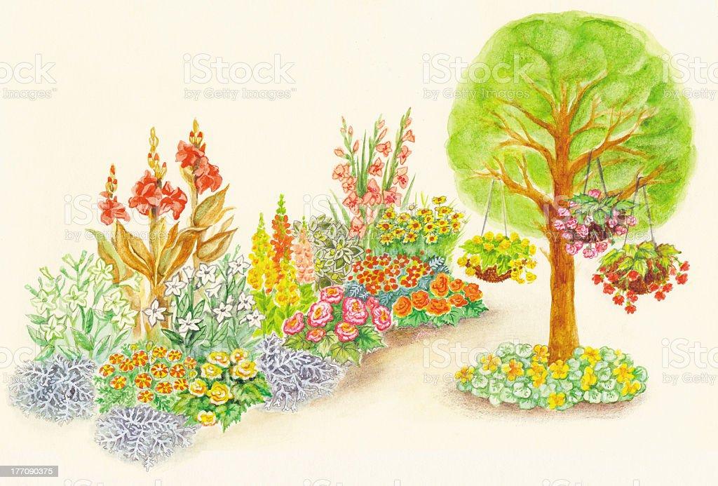 Garden design of flowerbeds and ornamental flowerpots royalty-free stock vector art