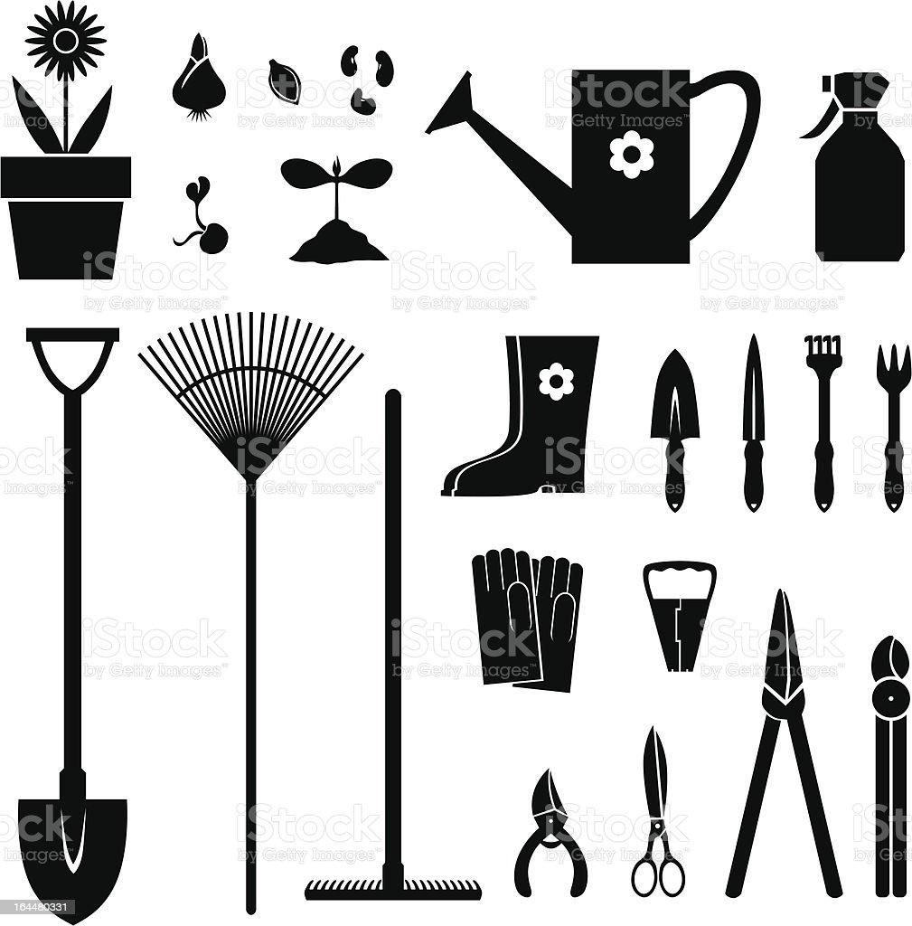 Garden equipment set royalty-free stock vector art