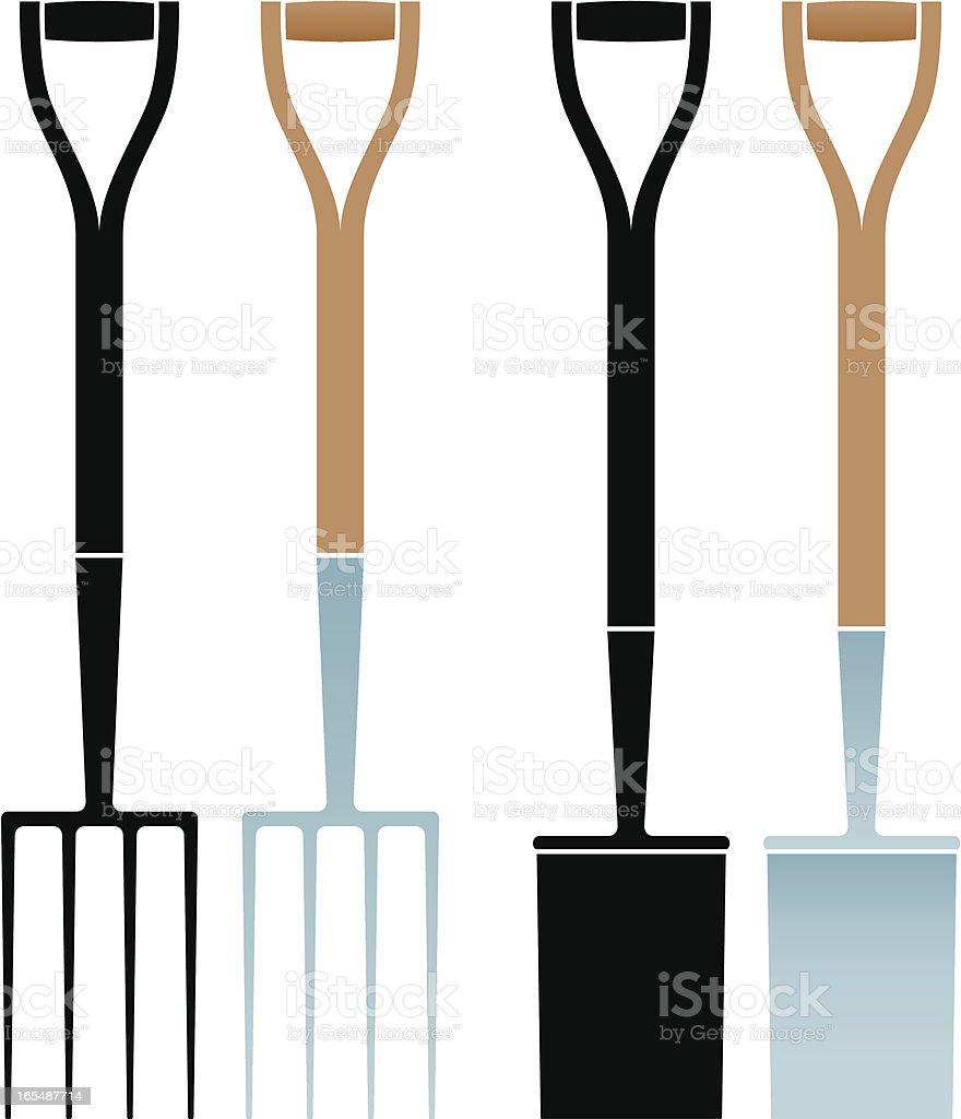 Garden fork and spade royalty-free stock vector art
