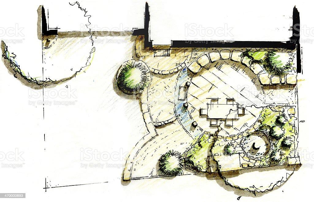 Garden landscape sketch layout design vector art illustration