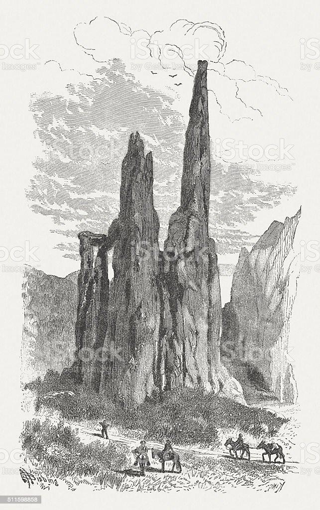 Garden of the Gods, Colorado, USA, wood engraving, published 1880 vector art illustration