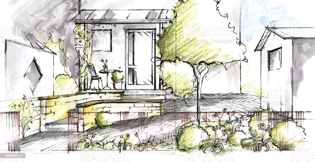 Garden plan View Sketch vector art illustration
