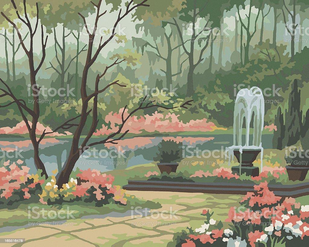 Garden Scene Paint By Number vector art illustration
