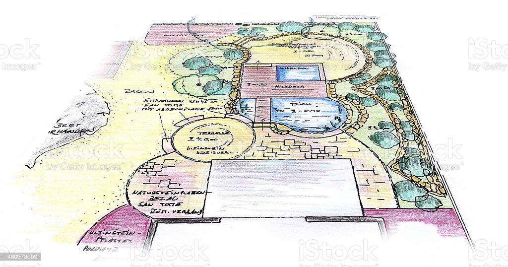 Garden Sketch Design vector art illustration