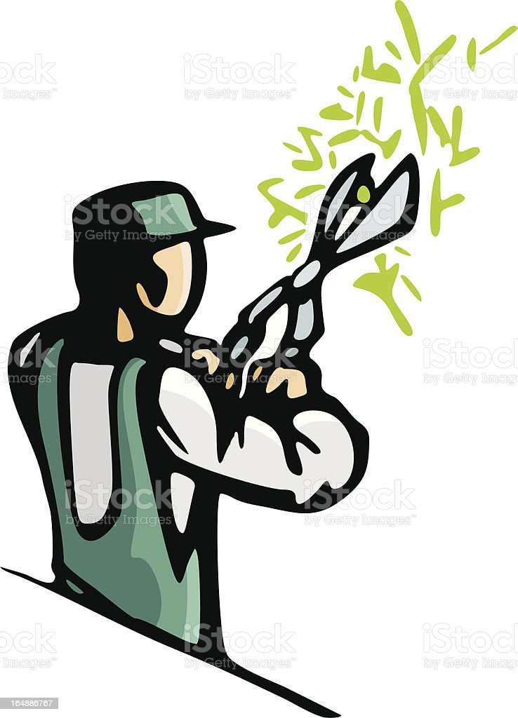 Gardener Trimming Bush (Vector) royalty-free stock vector art