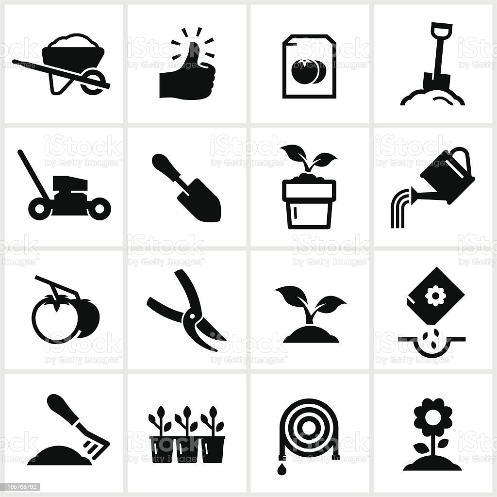 Gardening and Planting Icons vector art illustration