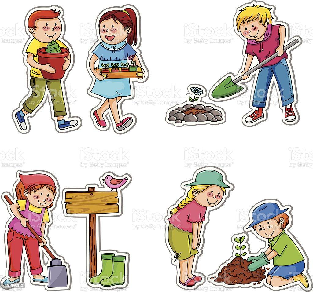 gardening kids royalty-free stock vector art