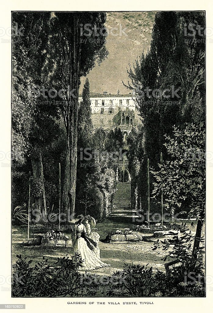 Gardens of the Villa d'Este, Tivoli, Italy, wood engraving (1875 royalty-free stock vector art