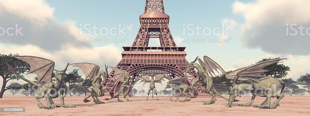 Gargoyles in front of the Eiffel Tower vector art illustration
