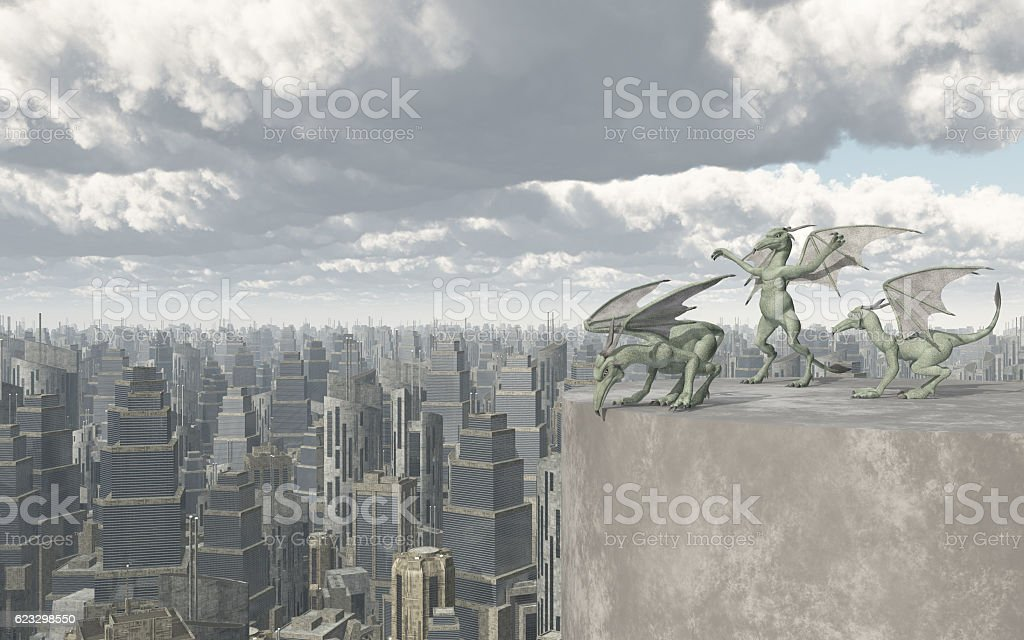 Gargoyles over a big city vector art illustration