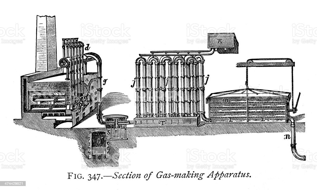 Gas making apparatus royalty-free stock vector art
