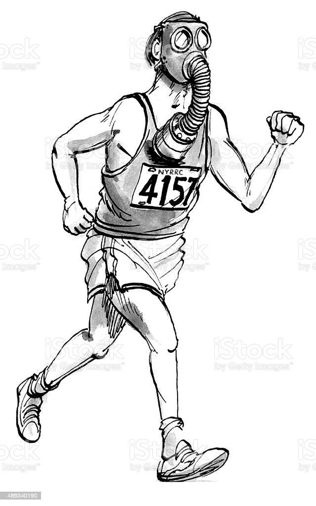 Gas mask Runner vector art illustration