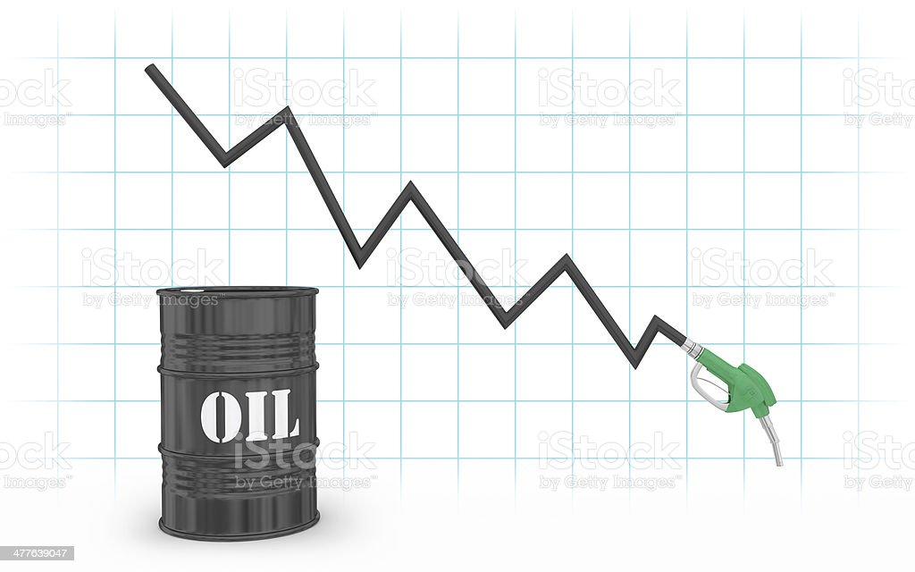 Gas pump graph with barrel vector art illustration