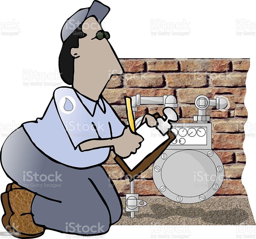 Gas Utility Meter Reader royalty-free stock vector art