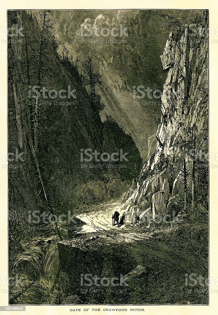 Gate of Crawford Notch, New Hampshire royalty-free stock vector art