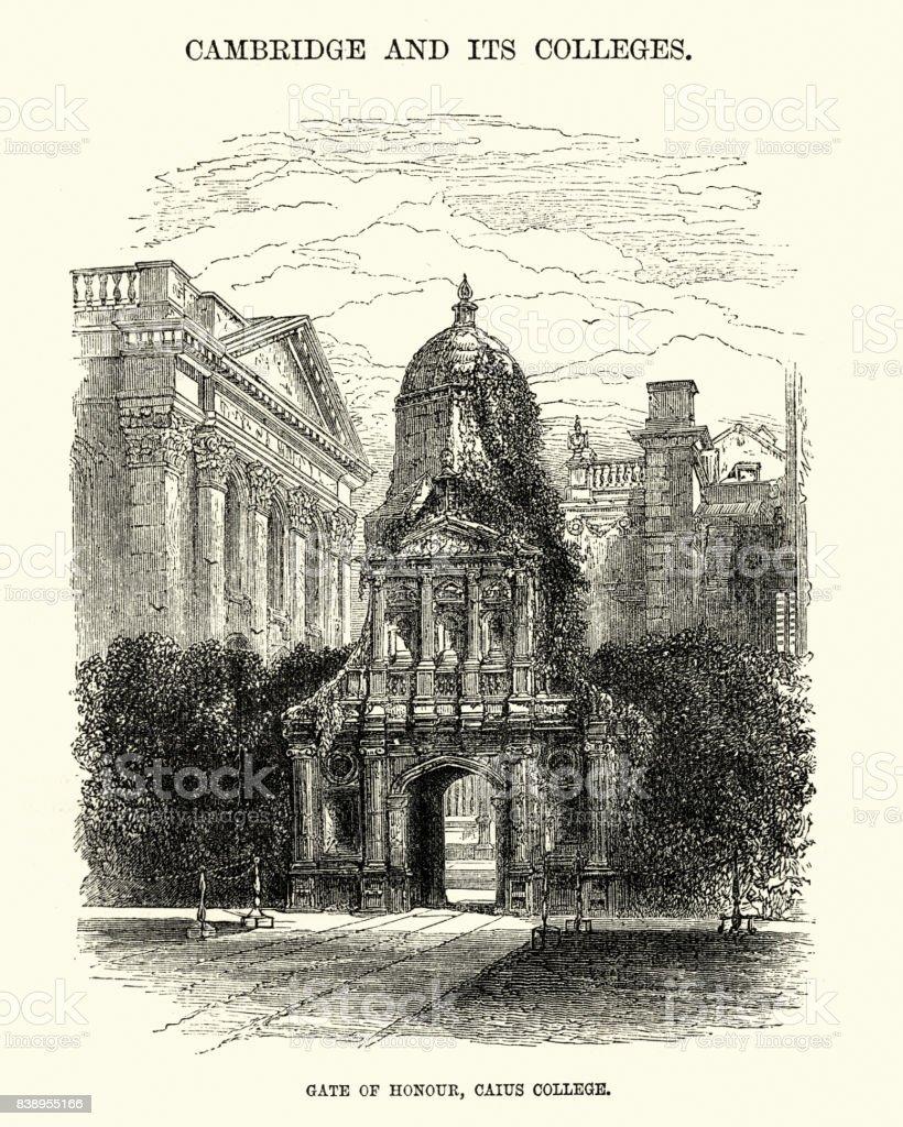 Gate of Honour, Caius College, University of Cambridge vector art illustration