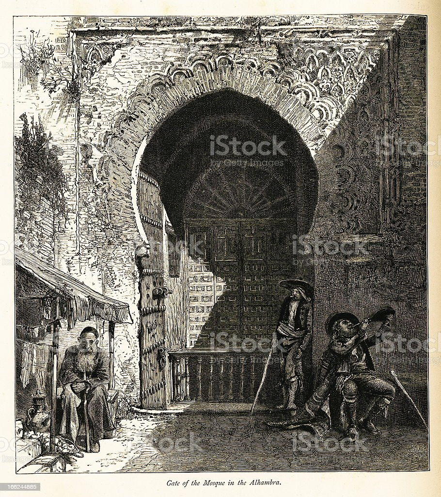 Gate of the mosque in Alhambra, Spain (antique wood engraving) royalty-free stock vector art