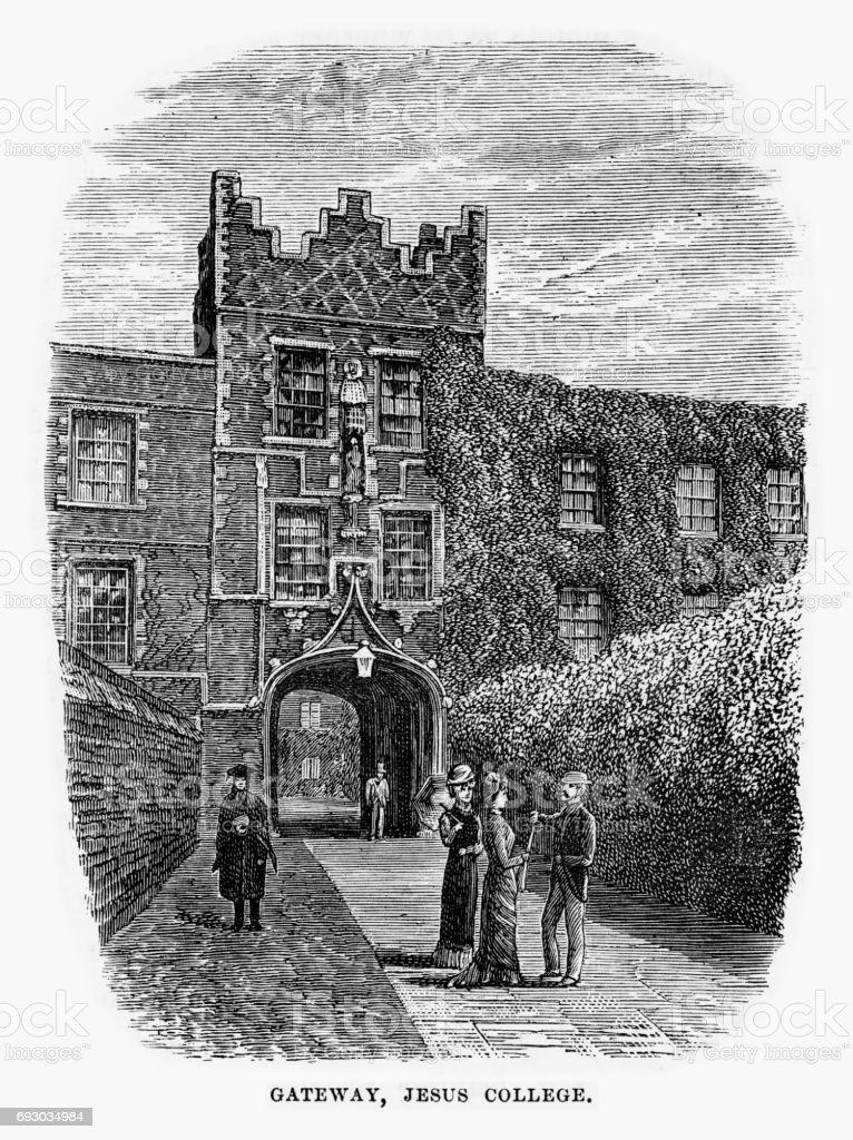 Gateway, Jesus College, Cambridge, Cambridgeshire, England Victorian Engraving, 1840 vector art illustration