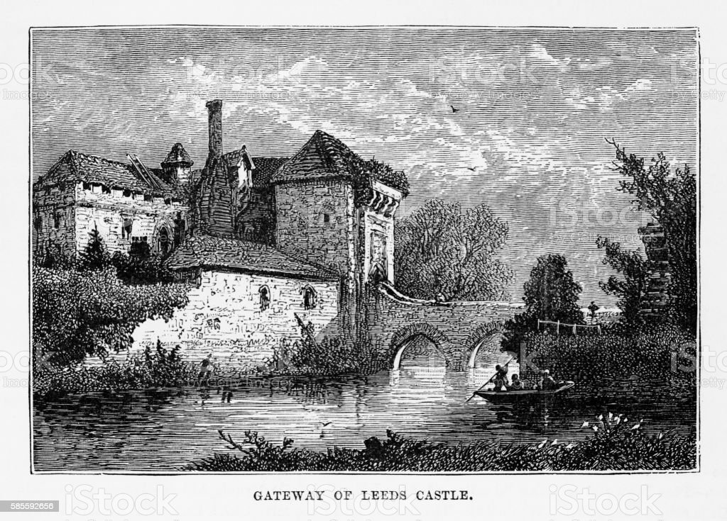Gateway of Leeds Castle, Maidstone, England Landmarks Victorian Engraving, 1840 vector art illustration