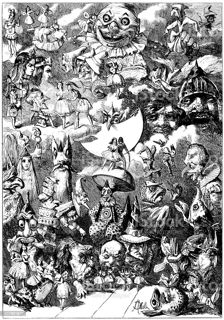 Gathering for the Pantomime: Dream of Chancifancia, Illustrated London News vector art illustration