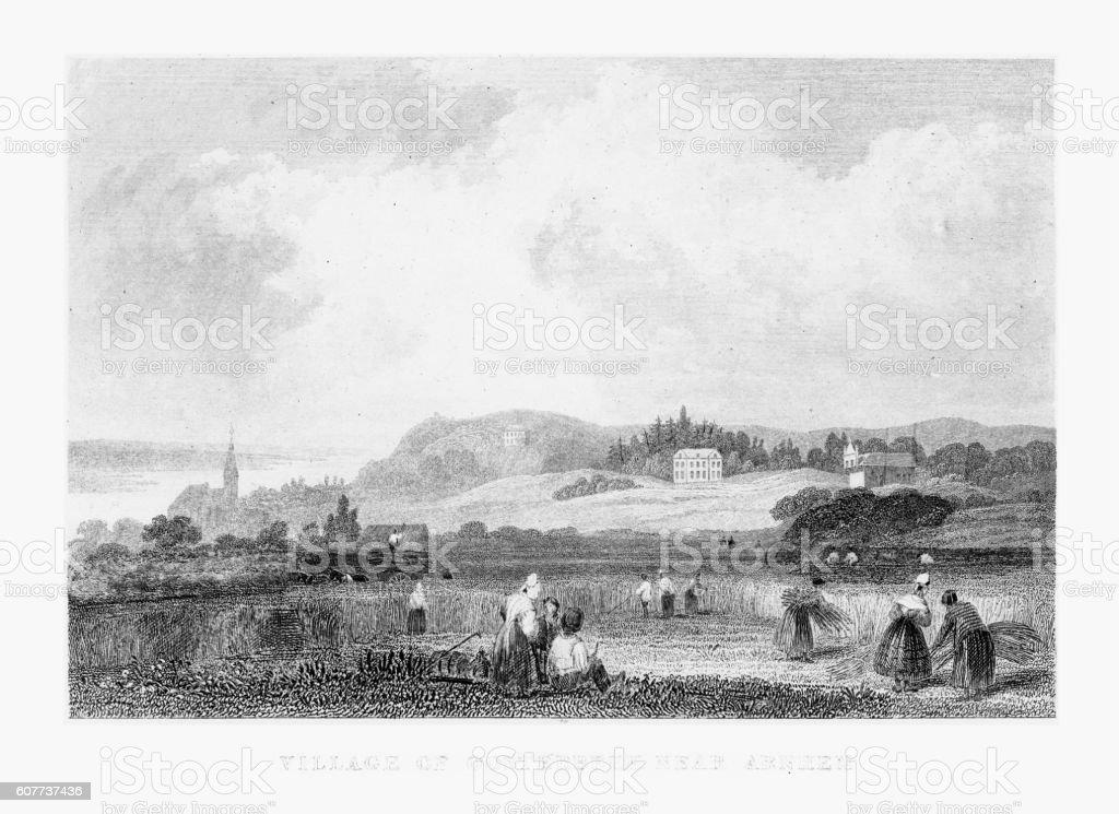 Gathering Hay in Village of OOsterbeek Near Arnhem, Netherlands 1887 vector art illustration