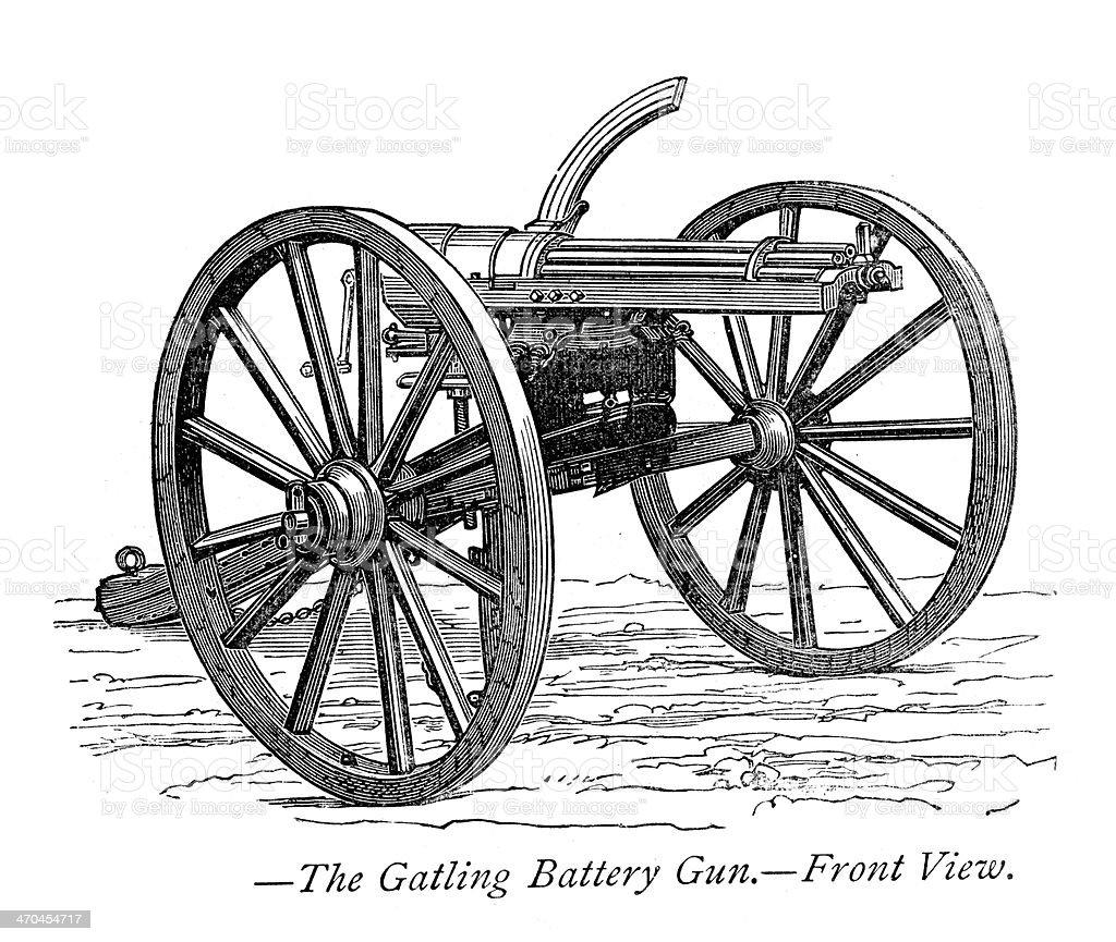 Gatling gun vector art illustration