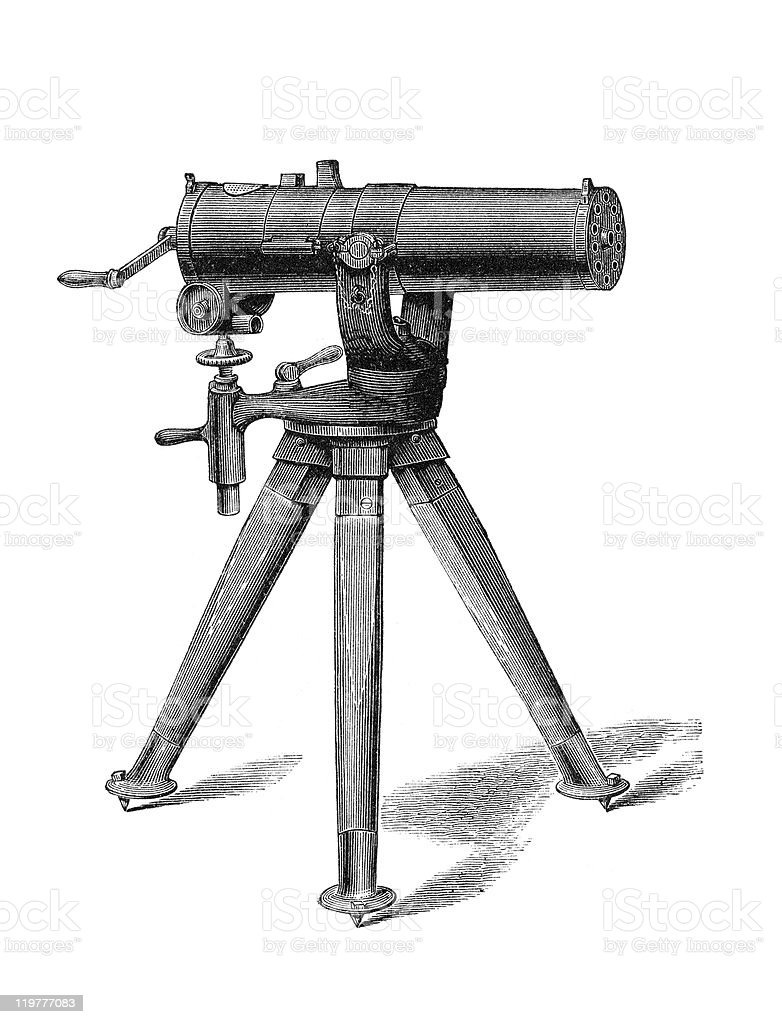 Gatling Machine Gun vector art illustration