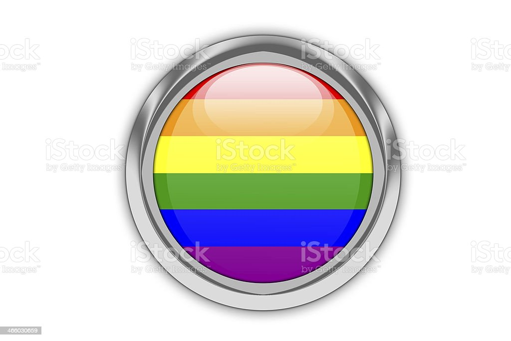 Gay flag glossy button. royalty-free stock vector art