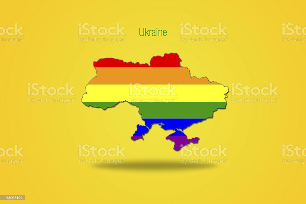 Gay flag in ukrainian map. royalty-free stock vector art