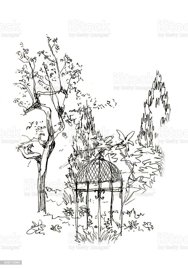 gazebo in the garden sketch vector art illustration