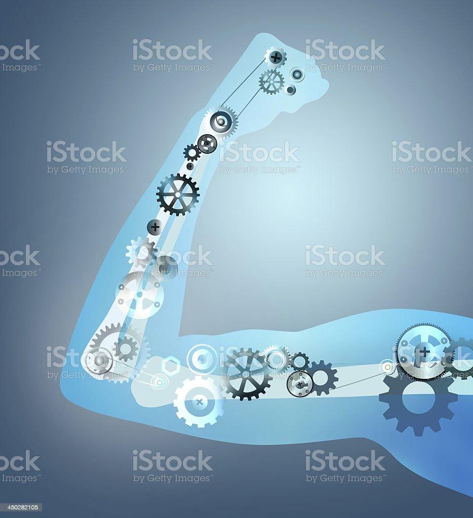 Gear arm bone anatomy vector art illustration