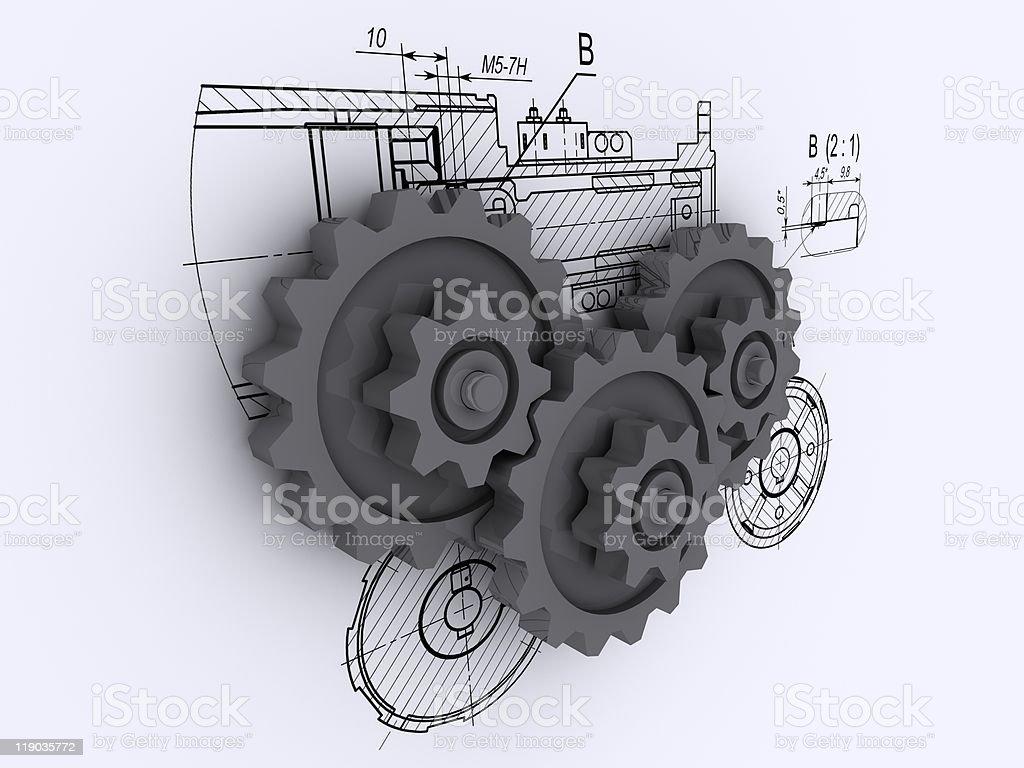 gears against background of engineering drawings royalty-free stock vector art