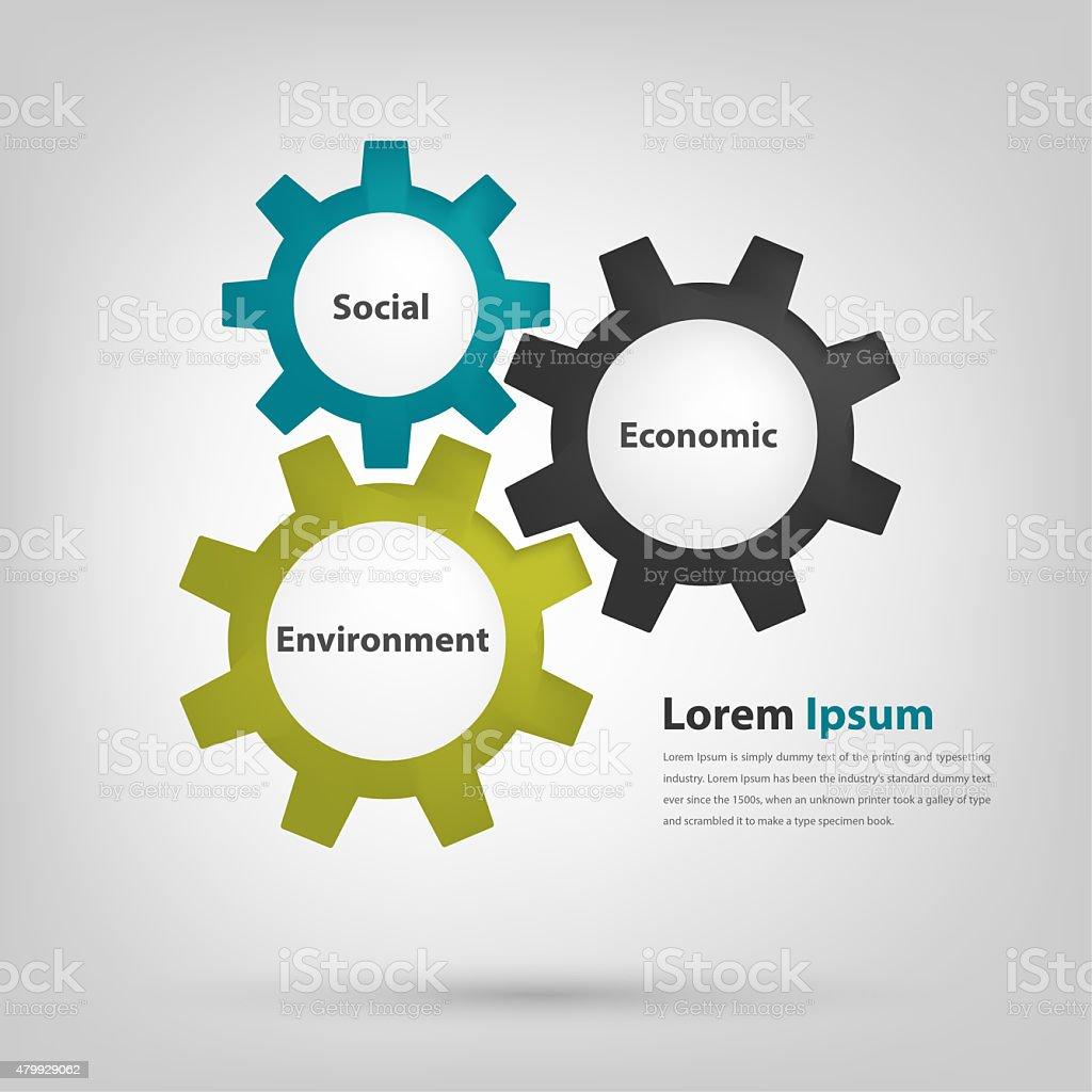 Gears drive good corporate governance vector art illustration