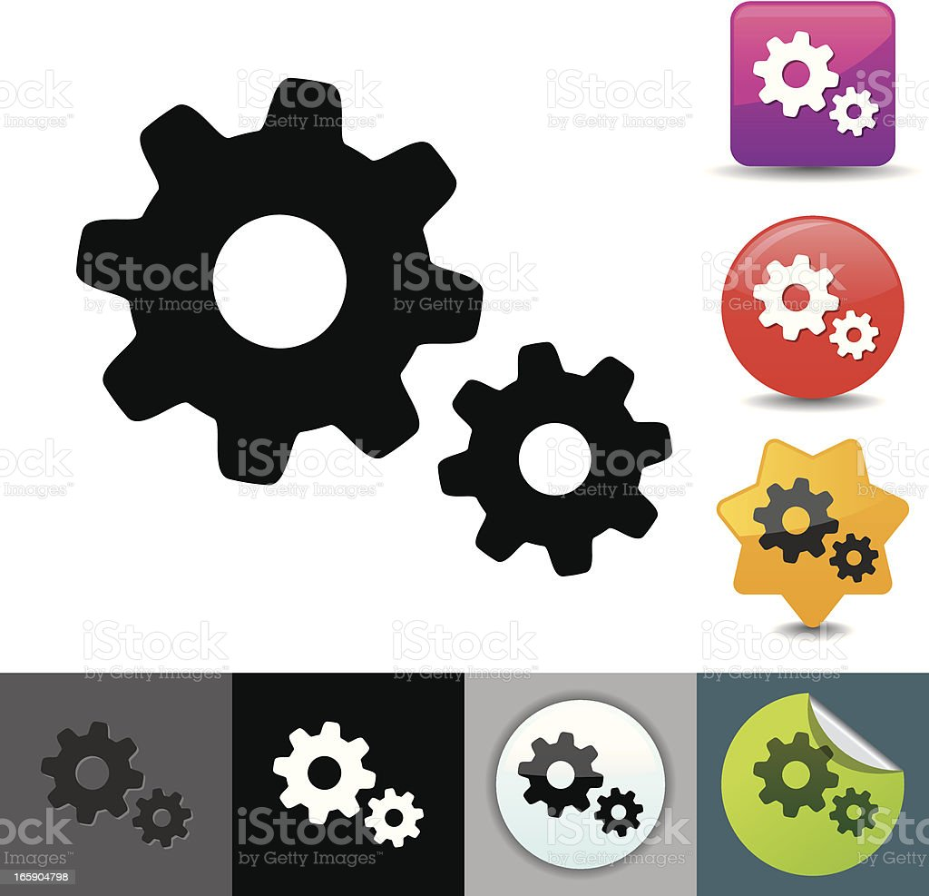 Gears icon | solicosi series royalty-free stock vector art