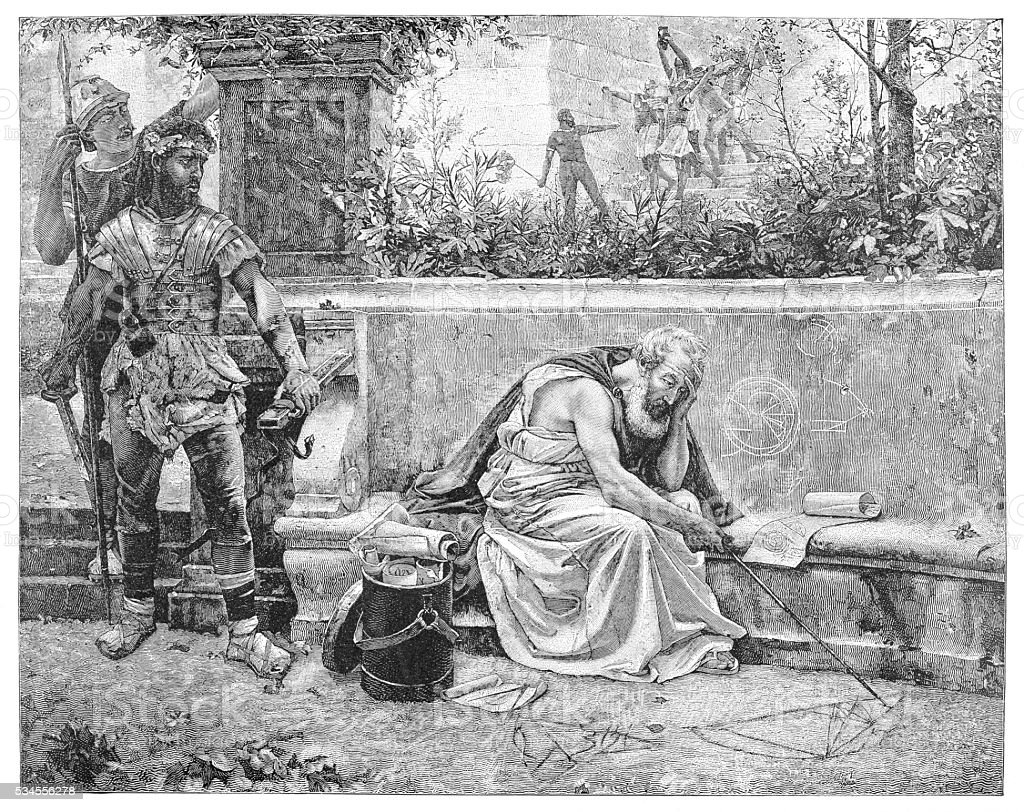 Geath of Archimedes engraving 1894 vector art illustration