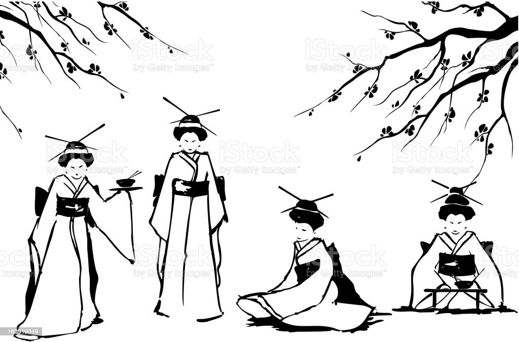 Geisha and sakura. vector art illustration