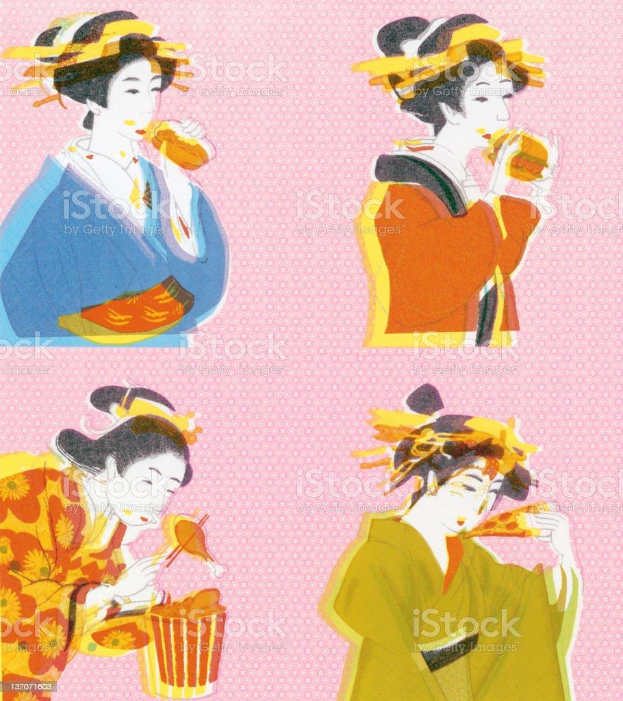 Geisha Girls Eating vector art illustration