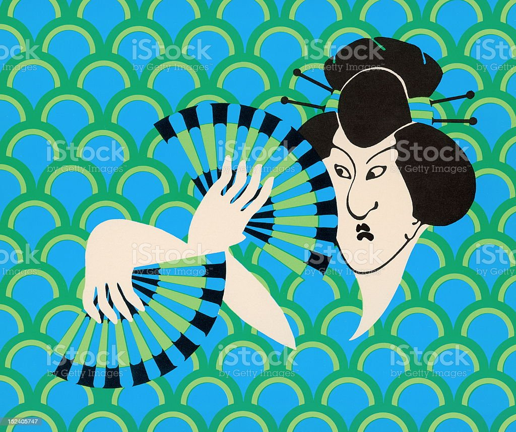 Geisha Holding Fans royalty-free stock vector art