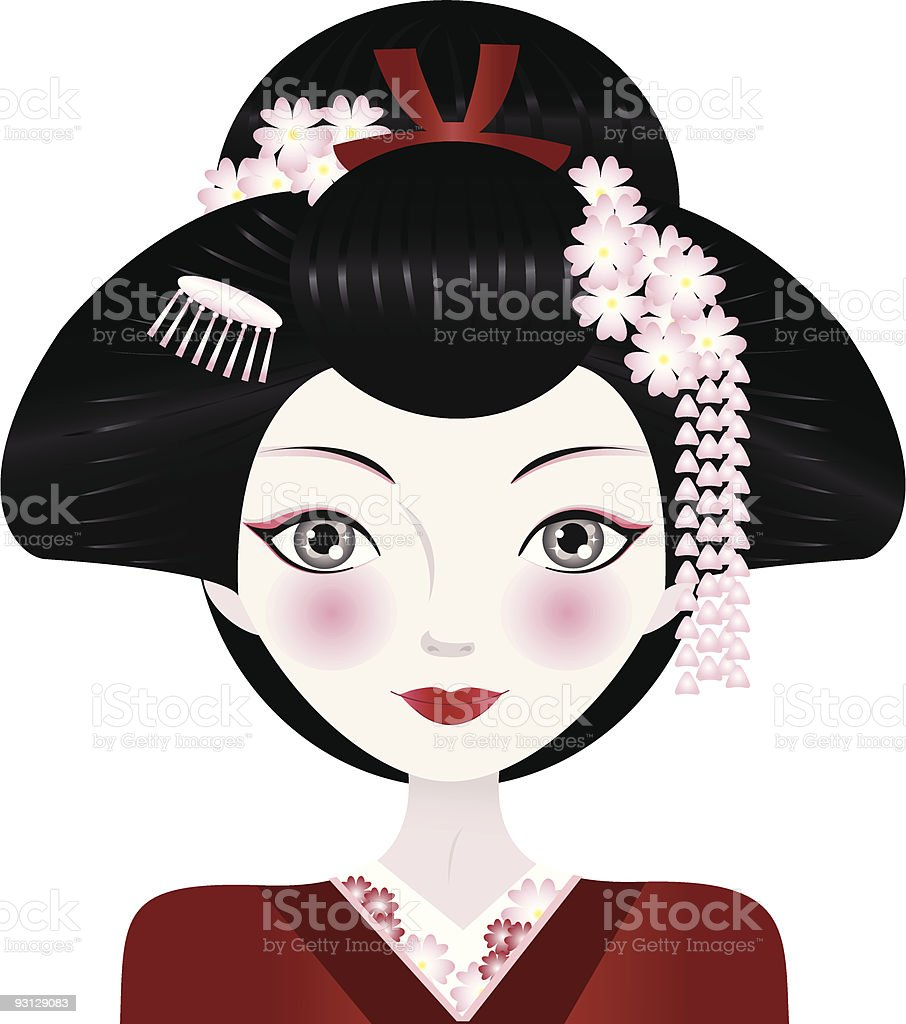 Geisha vector art illustration