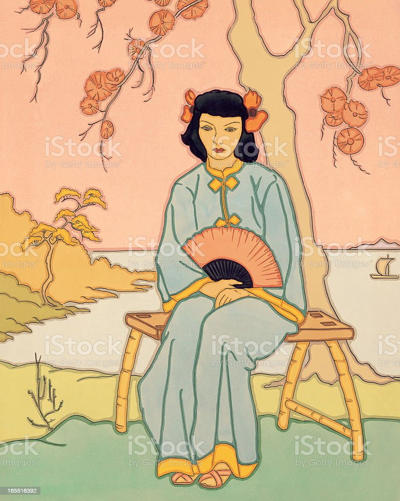 Geisha Sitting in a Garden royalty-free stock vector art