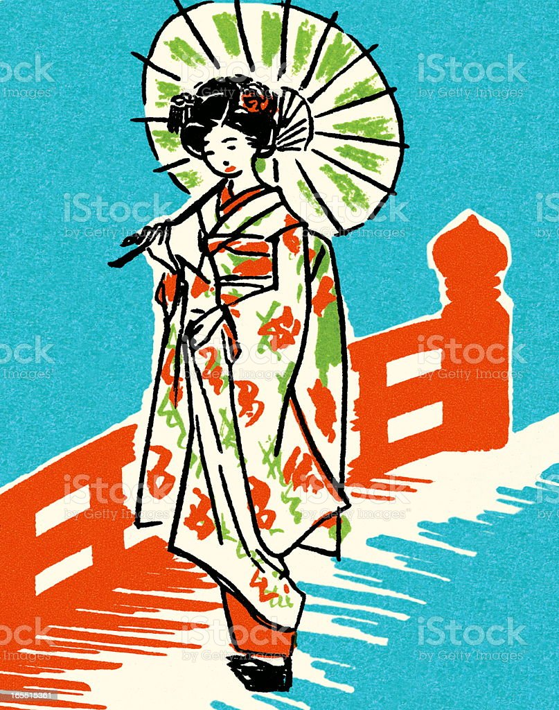 Geisha with Umbrella vector art illustration