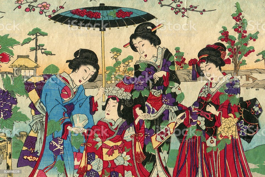 Geishas with princess and court ladies woodcut 1880 stock photo