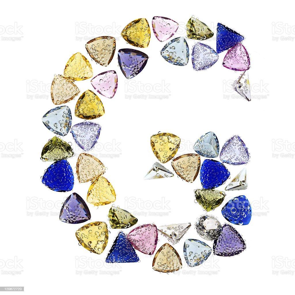 Gemstones alphabet, letter G. Isolated on white background. royalty-free stock vector art